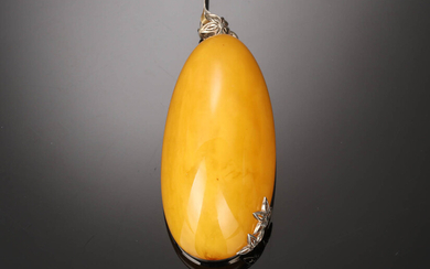 House of Amber. Milky amber and sterling silver pendant. 46.7 g.