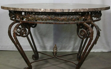IRON BASE MARBLE TOP CENTER TABLE.