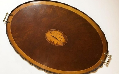 Inlaid Oval Serving Tray