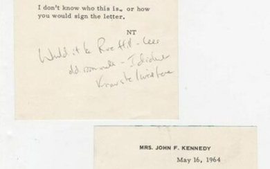Jackie Kennedy Pair of Interesting Notes Re