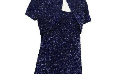 Jacques Griffe Navy Blue Sequin Mini Dress and Bolero