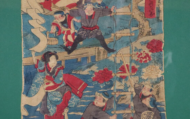 Japanese COLOR WOODCUT, probably 19th century, acrobats.