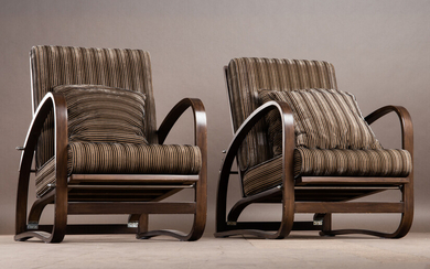 Jindřich Halabala, two chairs, model 'H-269', re-edition, wood, designed in the 1930s, Czech Republic (2)