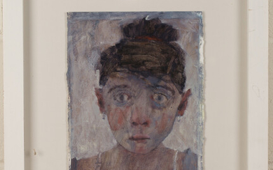 Joy Wolfenden Brown - Portrait of a Woman, mixed media on paper, signed, 33cm x 23cm, within a white