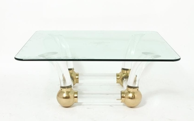 Karl Springer Style Acrylic & Brass Coffee Table