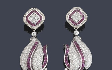 Long earrings with rubies and brilliant cut princess
