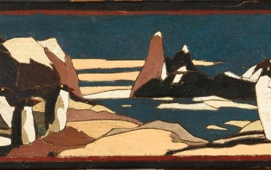 MODERN SCHOOL, circa 1930 Penguins on the ice floe Painted and engraved wood 17.5 x 48.5 cm