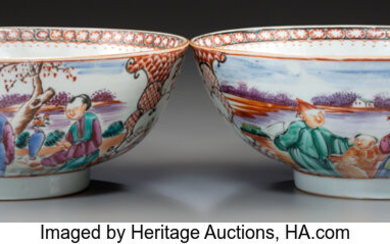 Maker unknown, A Pair of Chinese Export Famille Rose Porcelain Bowls (late 18th-early 19th century)