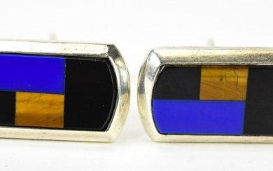 Mexican Sterling Lapis Tigers Eye Onyx Cuff Links