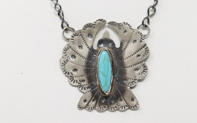 Native American Sterling Silver Turquoise Thunderbird