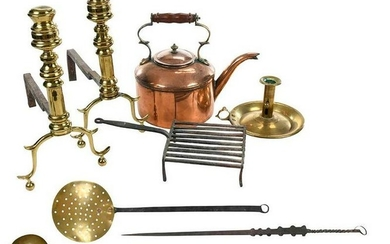 Nine Assorted Period Brass, Iron, Copper Items