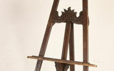 Old wood carved Rococo style easel. Dimensions: H 192 x