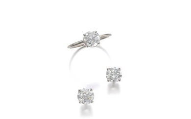 PAIR OF DIAMOND EARRINGS AND A RING