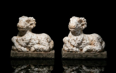 PAIR OF GLAZED POTTERY RAM SCULPTURES