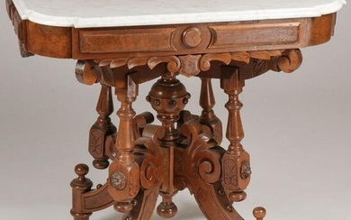 PAIR VICTORIAN WALNUT MARBLE TOP TABLES