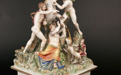 """PORCELAIN SCULPTURE """"The Farnese Bull"""", polychrome staffage in the style of Capodimonte."""