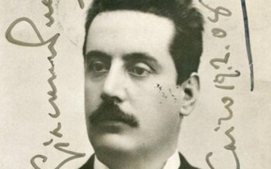 PUCCINI GIACOMO: (1858-1924) Italian Composer. A good vintage signed postcard photograph of Puccini in a head and shoulders pose. Signed ('Giacomo Puccini') in bold, dark fountain pen ink to a clear area of the background and dated Cairo, 19th February...