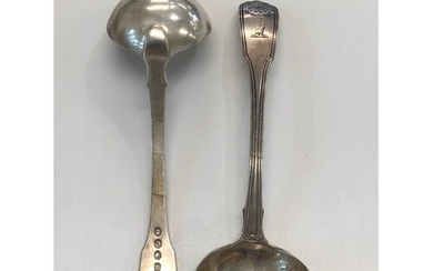 Pair Georgian silver ladles, approximate total weight 121g, ...