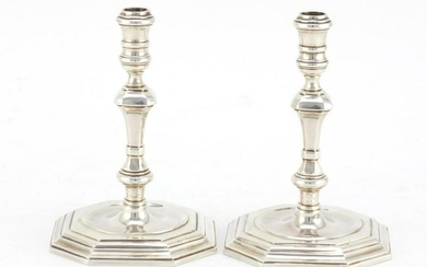 Pair of 18th century design cast silver candlesticks, B