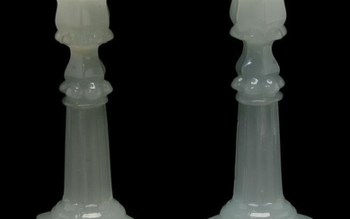 Pair of Boston and Sandwich Glass Co. Alabaster