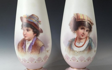 Pair of Bristol Glass Vases with Italian Portraits, Each tapering form on circular foot in opaque white glass with a matte finish, hand painted with portraits of an Italian boy and girl, signed Ahne. 12 in.h. Condition: Very good with minor wear to...