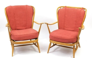 Pair of Ercol light elm easy chairs, 82cm high