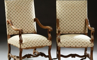 Pair of French Louis XIII Style Carved Walnut