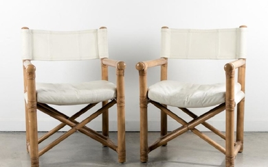 Pair of Kreiss Bamboo & Leather Directors Chairs