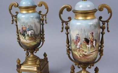 Pair of Sevres Style Bronze Mounted Porcelain Urns