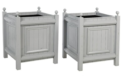 "Pair of ""Windsor""-Style Painted Wooden Tree Tubs"