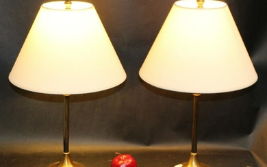 Pair of brass finish lamps
