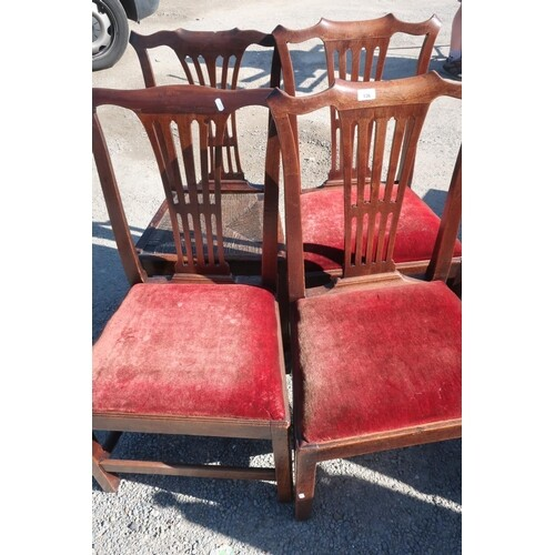 Pair of early 19th C oak broad seated dining chairs with dro...
