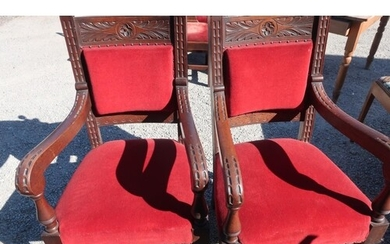 Pair of late Victorian oak heavy carved framed armchairs wit...