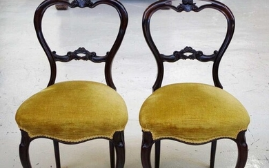 Pair of rosewood balloon back chairs