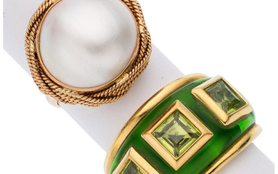 Peridot, Mabe Pearl, Enamel, Gold Rings The lot includes...