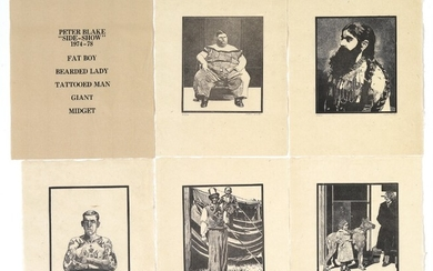 "Peter Blake: ""Side-Show"", 1974–1978. Five woodcuts on Japan paper. All signed Peter Blake, 89/100. Sheet sizes 29×23 cm. In original portfolio."