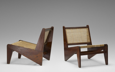 Pierre Jeanneret, Rare Kangourou chairs from Chandigarh, pair