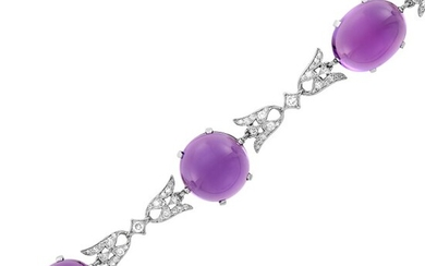 Platinum, Cabochon Amethyst and Diamond Bracelet