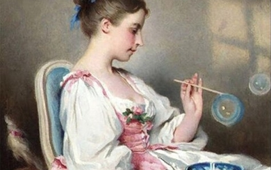 Polychrome porcelain plaque representing a young girl with soap bubbles after Charles Josuah Chaplin- Dated 1885 and signed Madeleine Savy - 27,5 x 19 cm