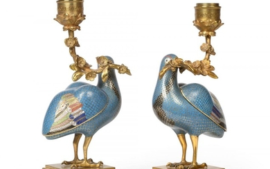 A Pair of Gilt Bronze Mounted Chinese Cloisonné Enamel Figures...