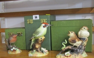 """ROYAL CROWN DERBY BIRDS, three boxed groups, """"Thrush Chicks""""..."""