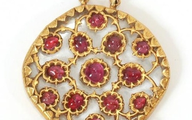 RUBY, PEARL & 22KT GOLD PENDANT