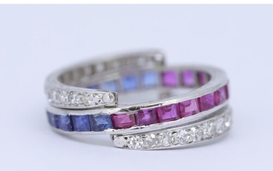 RUBY, SAPPHIRE AND DIAMOND DAY AND NIGHT RING, the central r...