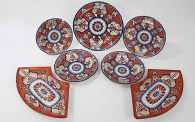 Regency pearlware glazed tablewares, decorated in a variation of the Dollar pattern (7 pieces)