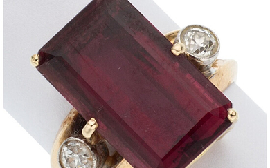 Rubelite Tourmaline, Diamond, Gold Ring The ring features an...