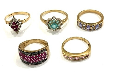 Selection 9ct gold ladies dress rings, total approximate wei...