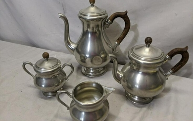 Set 4 Royal Holland Pewter Tea Set Coffee Tea Cream