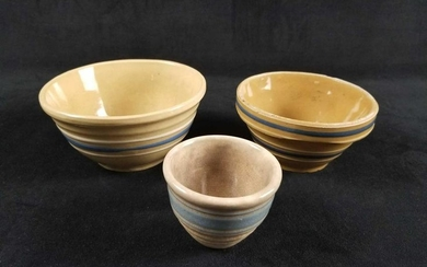 Set of 3 Handmade Pottery Nesting Oven Ware Bowls Made