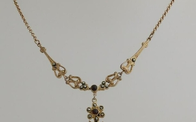 Silver plated choker, 925/000, with garnet and