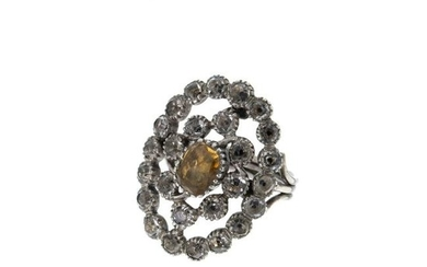 Silver ring with topaz and rock crystal